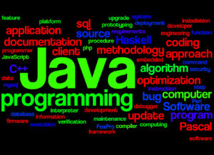 Java programming, word cloud concept on black background.